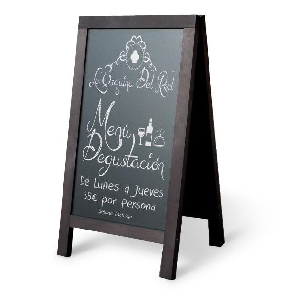Tableau Noir Cadre Bois Vertical De Trottoir Menu Restaurant Pub